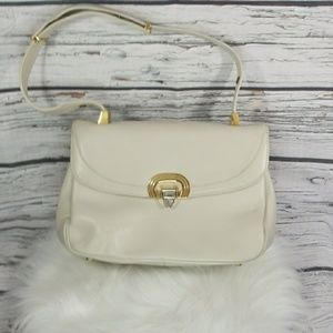 NWOT Vintage ivory bone leather clasp shoulder bag